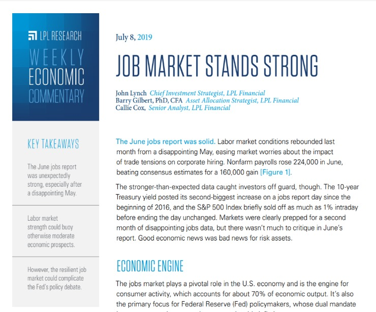 Job Market Stands Strong | Weekly Economic Commentary | July 8, 2019