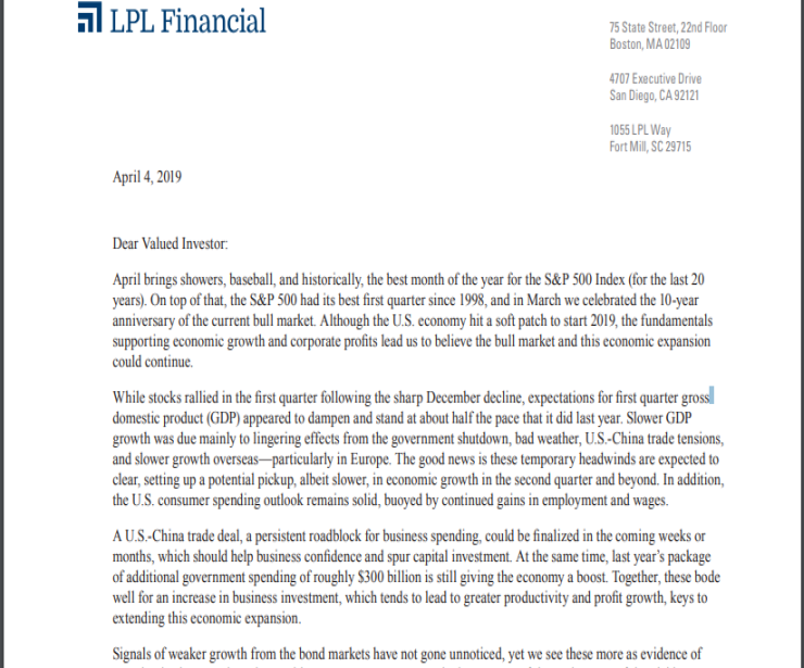 Signals We See in Q1 2019 Results | Client Letter | April 4, 2019