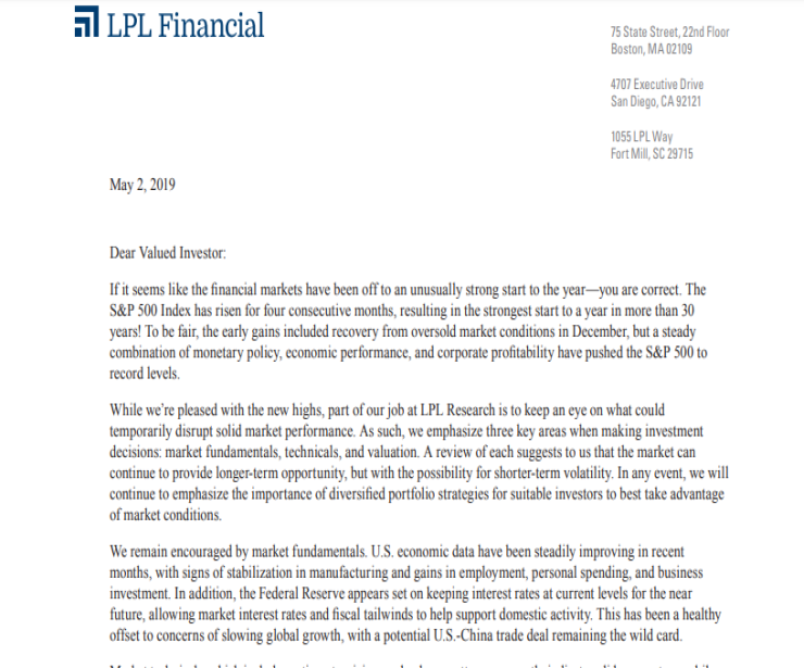 Off to a Strong Start | Client Letter | May 2, 2019