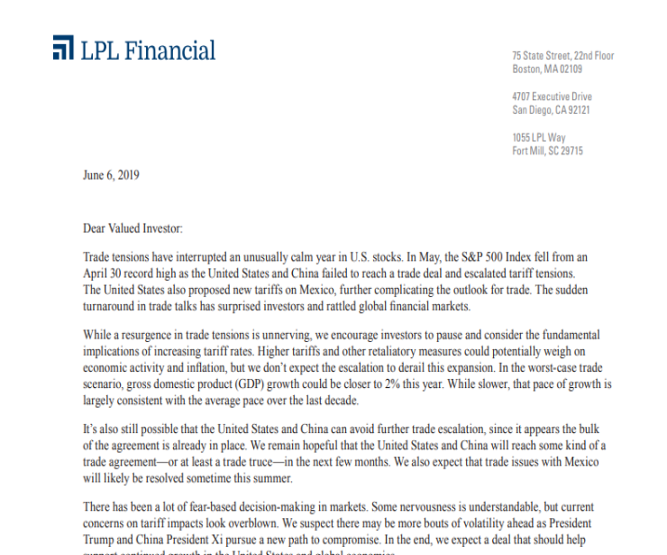 Trade and Tariffs | Client Letter | June 6, 2019