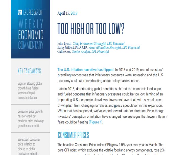 Too High or Too Low? | Weekly Economic Commentary | April 15, 2019
