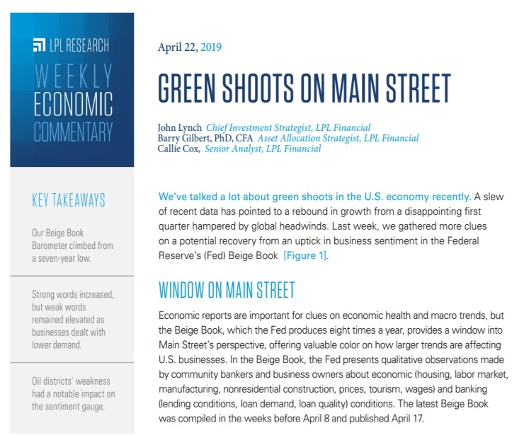 Green Shoots on Main Street | Weekly Economic Commentary | April 22, 2019