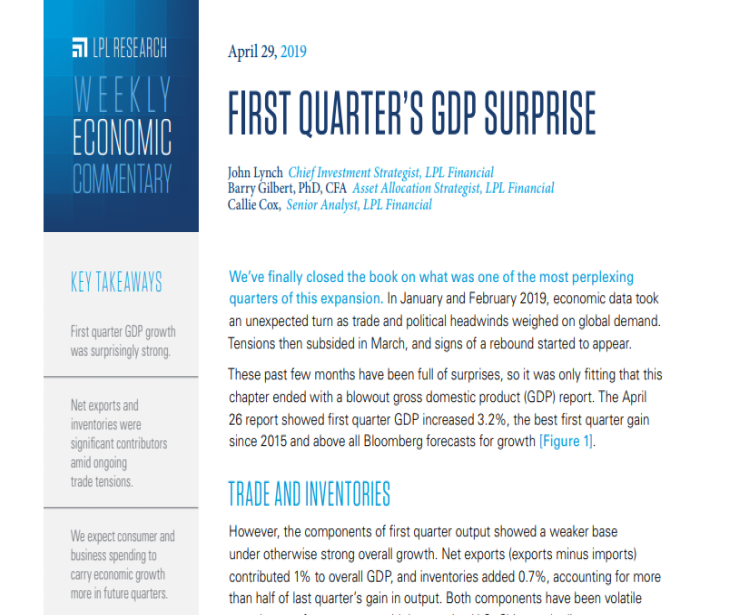First Quarter's GDP Surprise | Weekly Economic Commentary | April 29, 2019