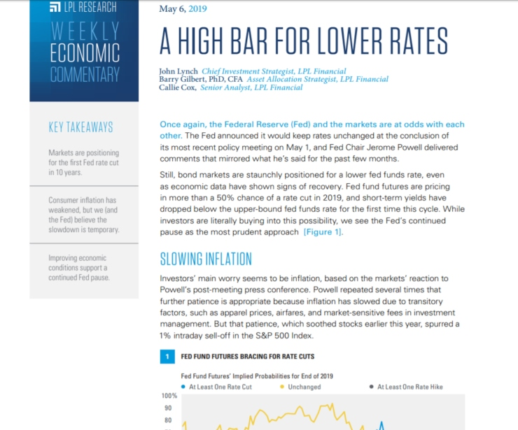 A High Bar For Lower Rates | Weekly Economic Commentary | May 6, 2019