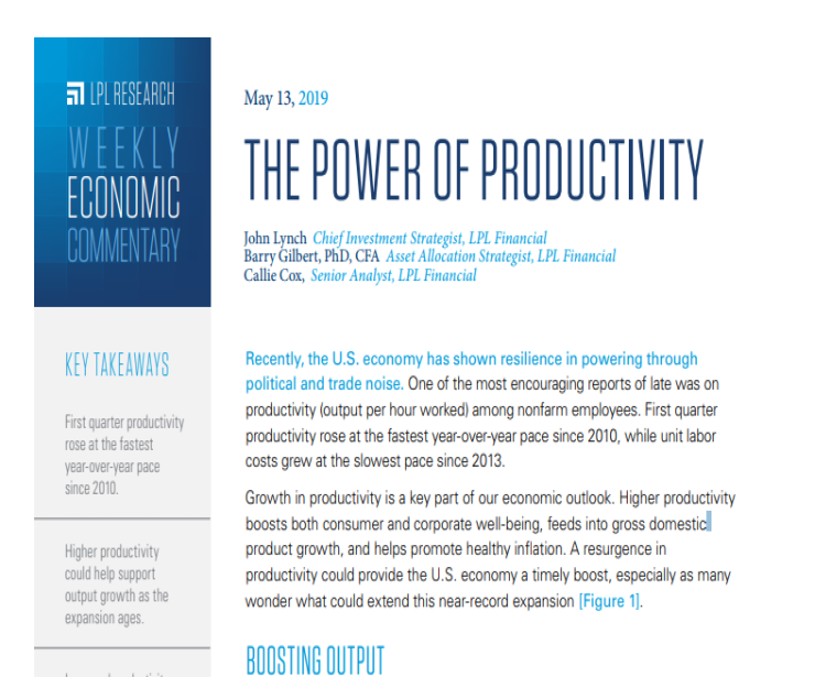 The Power of Productivity | Weekly Economic Commentary | May 13, 2019