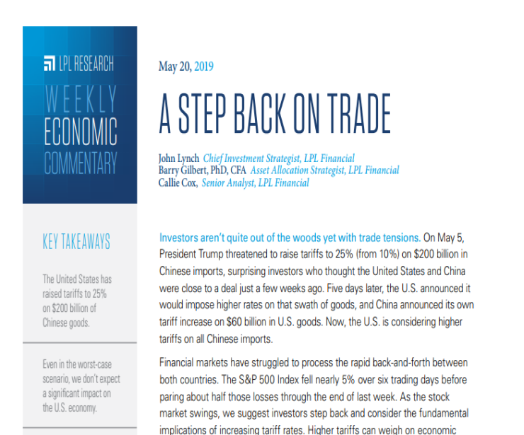 A Step Back On Trade | Weekly Economic Commentary | May 20, 2019