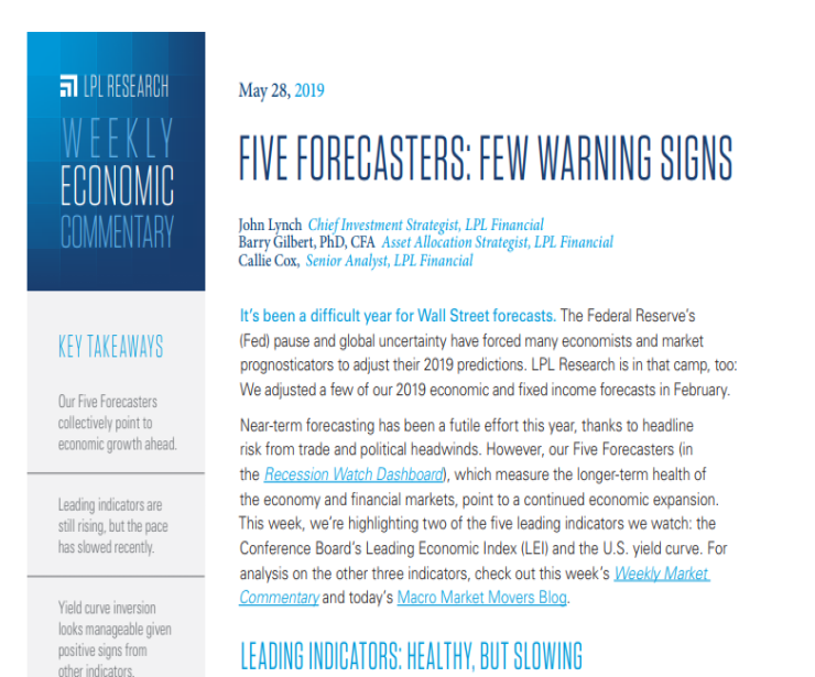 Five Forecasters | Weekly Economic Commentary | May 28, 2019