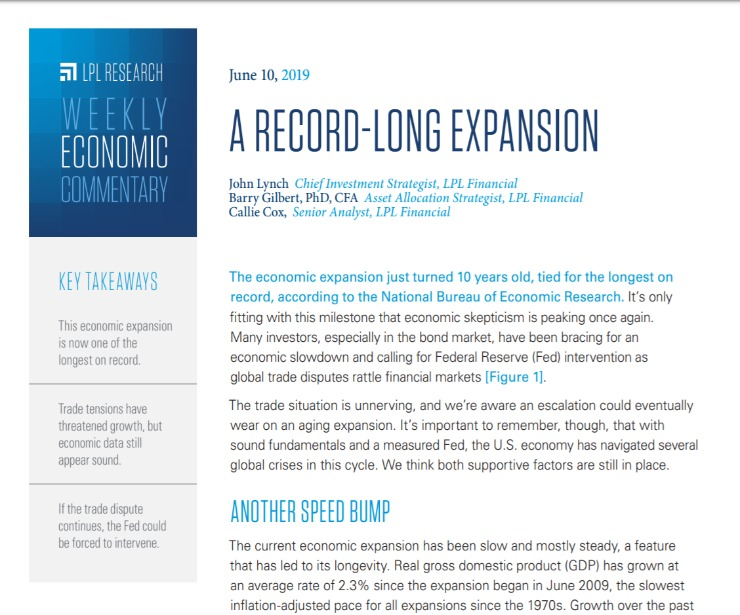 A Record-Long Expansion | Weekly Economic Commentary | June 10, 2019