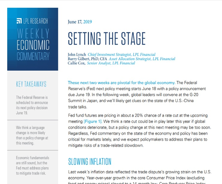 Setting The Stage | Weekly Economic Commentary | June 17, 2019