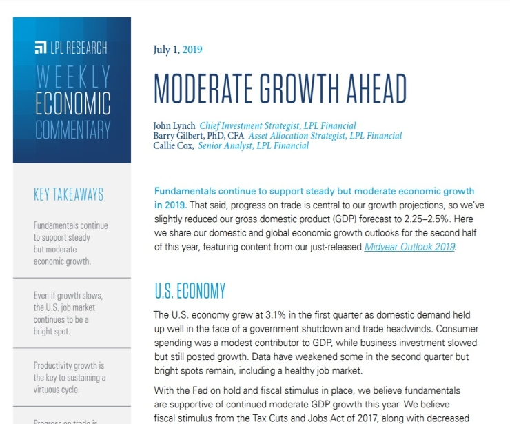 Moderate Growth Ahead | Weekly Economic Commentary | July 1, 2019