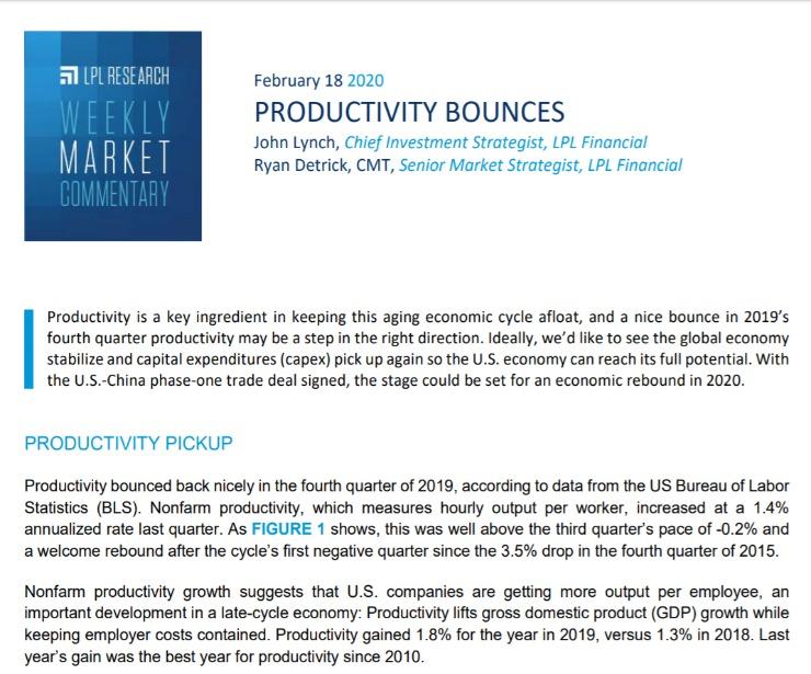 Productivity Bounces | Weekly Market Commentary | February 18, 2020