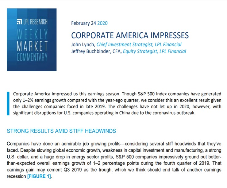 Corporate America Impresses | Weekly Market Commentary | February 24, 2020