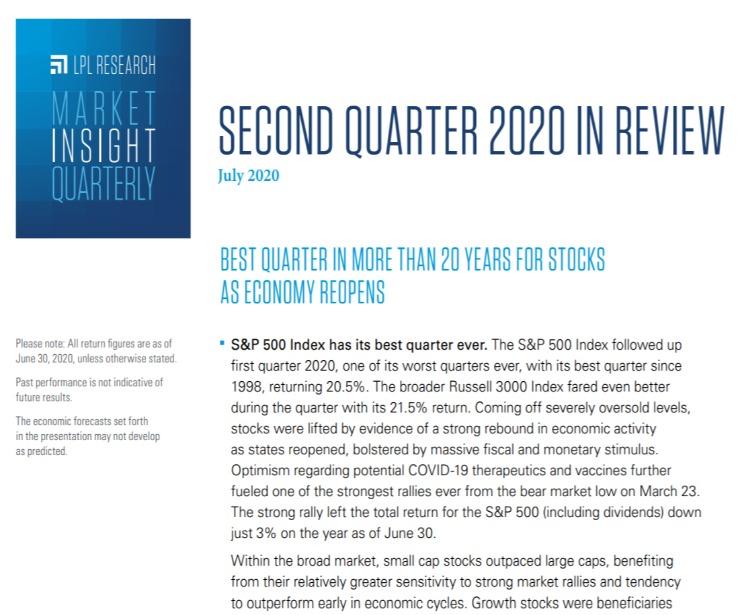 Market Insight Quarterly| Second Quarter 2020 | July 21, 2020
