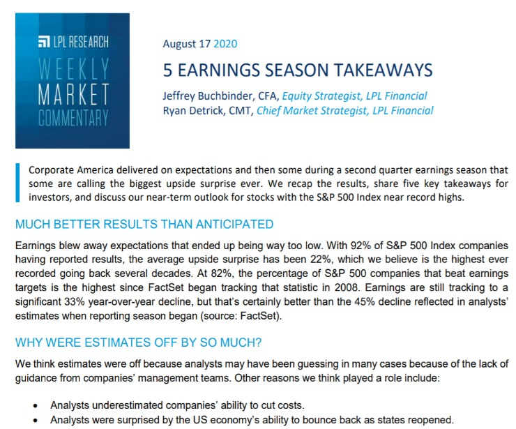 5 Earnings Season Takeaways| Weekly Market Commentary | August 17, 2020